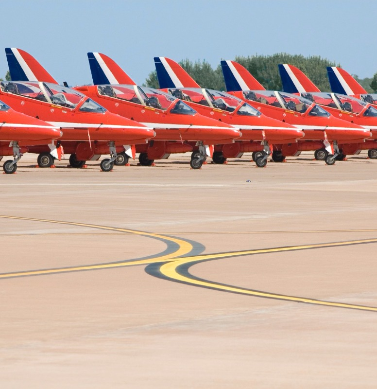 Performance jets at rest.