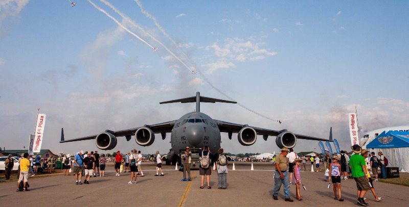 In between exhibits and spontaneous air shows, an Air Force Cargo jet.
