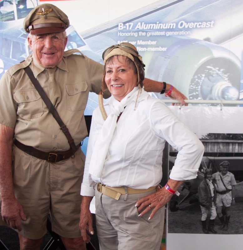WWII Gunner pilot with wife and photos from WWII experience.