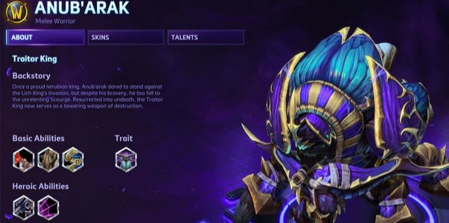 Anub'arak as he appears today in Heroes of the Storm.