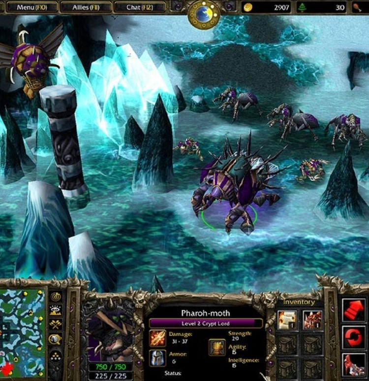 Anub'arak/The Crypt Lord in a Warcraft 3 custom game.