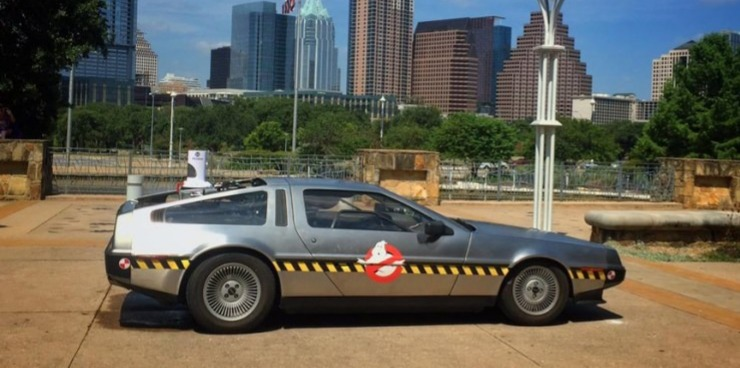 Is that the Back To The Future car with the Ghostbusters logo? Too cool.