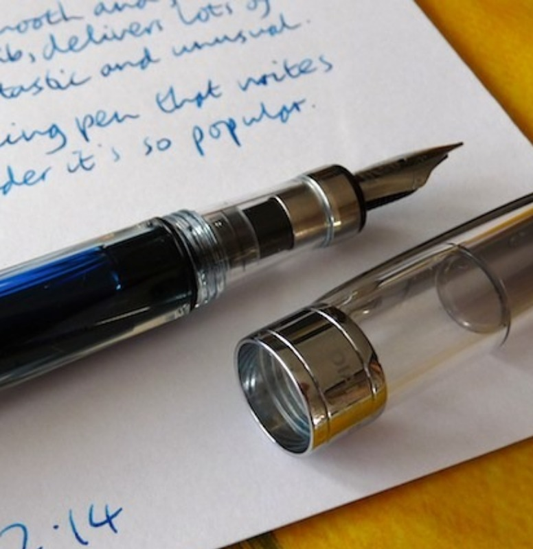 Writing letters with the new pen.