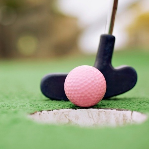 Putters, pink and orange golf balls, and family mini golf.