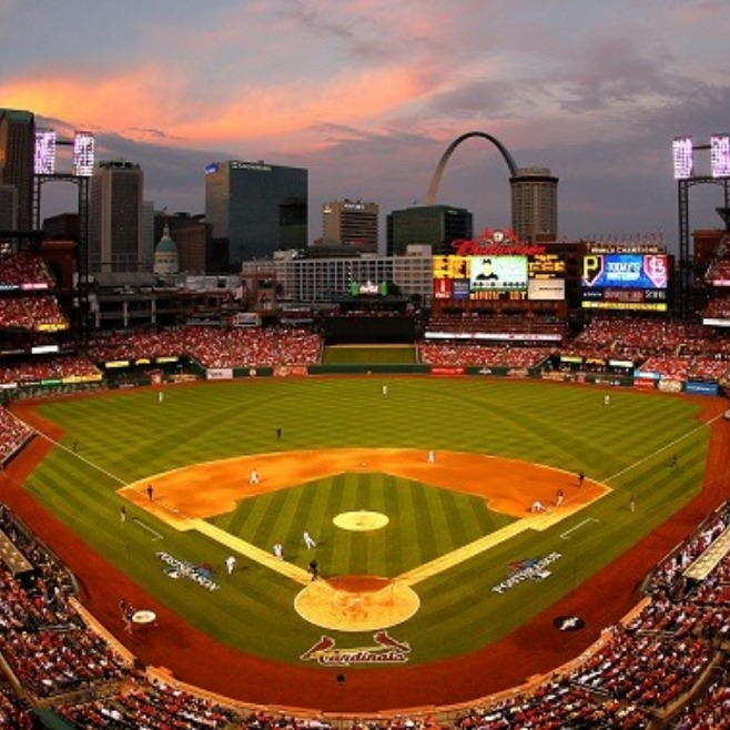 Busch Stadium at sunset.