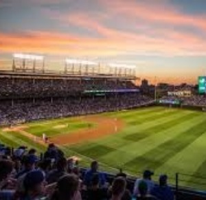 Wrigley Field at sunset.