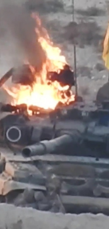A T-90 destroyed by an air attack.