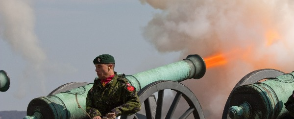 A cannon being fired