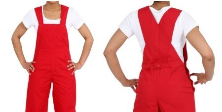 Boy's overalls can also come in red, which is very fashion forward.