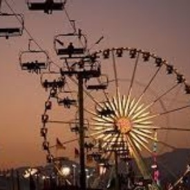 The skyride & ferris wheel, LA fair