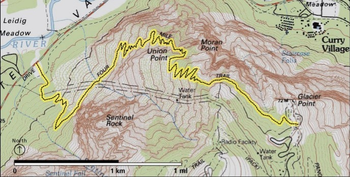 Map of the four-mile trail. Maps are your friend!