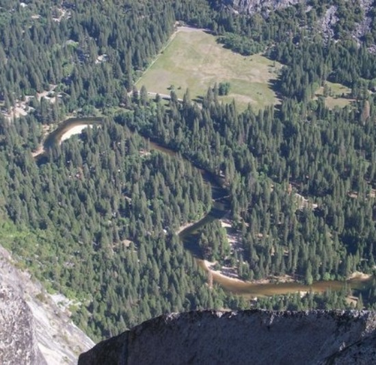 An aerial view of the valley of the four-mile trail hike.